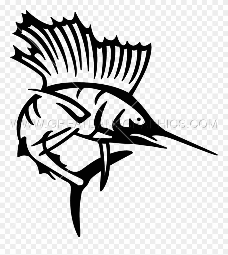 Sailfish clipart black and white clip library library Picture Black And White Sailfish Production Ready Artwork ... clip library library
