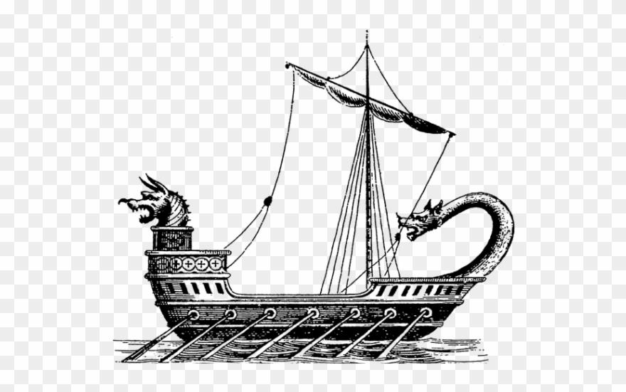Sailing ship clipart black and white transparent