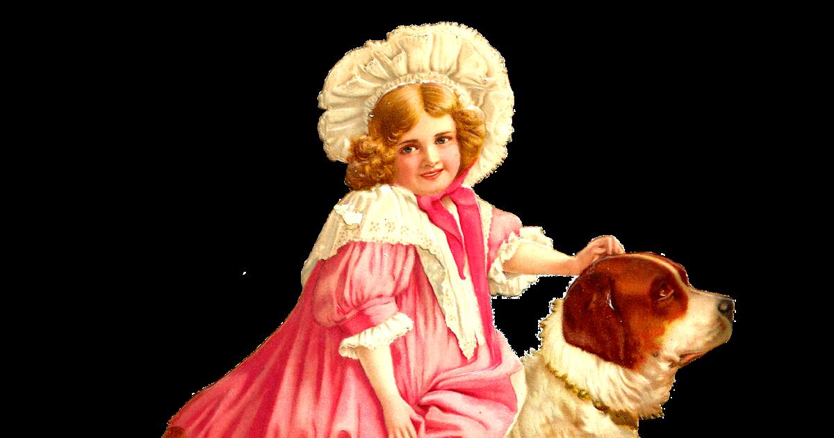 Saint bernard dog clipart graphic freeuse stock Antique Images: Free Child Clip Art: Pretty Girl with St. Bernard ... graphic freeuse stock