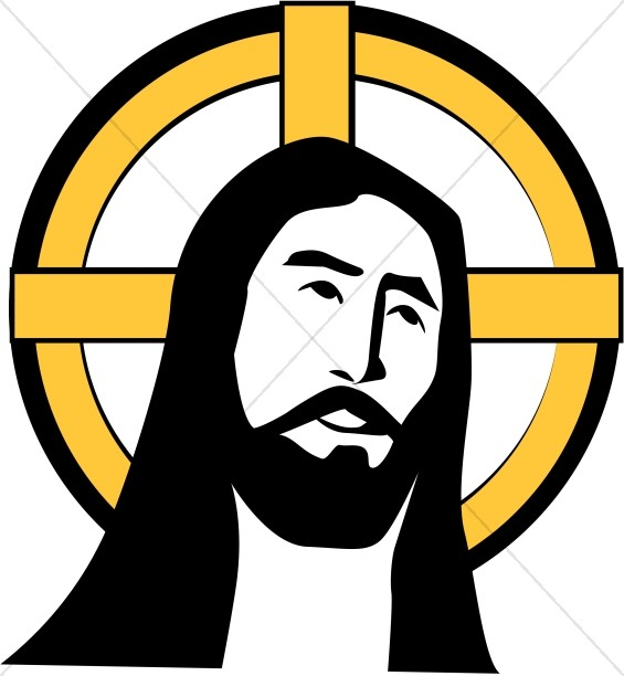 Saint halo clipart graphic free Jesus with Cross Halo | Jesus Clipart graphic free