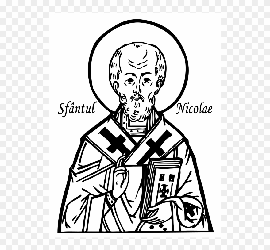 Saint nicolas clipart image black and white Saint Nicholas Clip Art - St Nicholas Icon Coloring Page ... image black and white