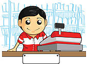 Sales clerk clipart jpg black and white Clip Art of Customer and a sales clerk standing at a checkout ... jpg black and white