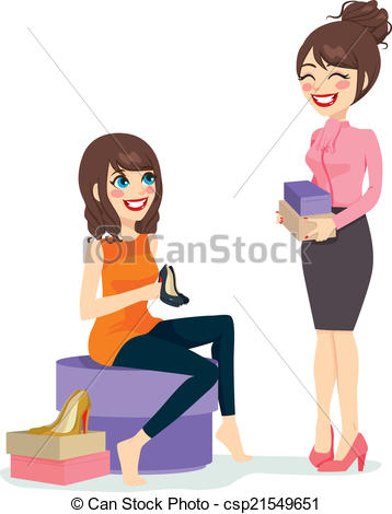 Sales clerk clipart vector free Clipart Vector of Woman Choosing Shoes - Beautiful brunette woman ... vector free