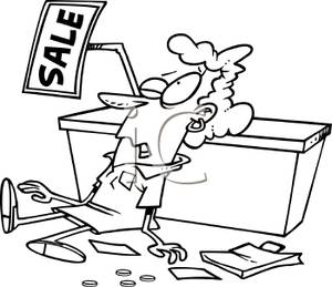 Sales clerk clipart svg download Black and White Cartoon of a Sales Clerk Collapsed on the Floor ... svg download