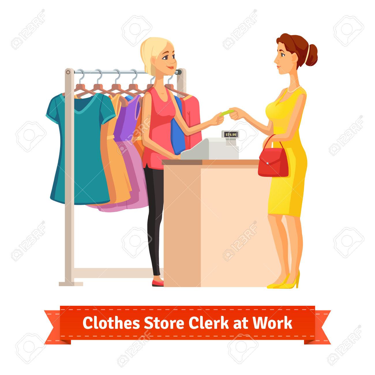 Sales clerk clipart svg transparent stock Beautiful Blonde Girl Sales Clerk Taking Credit Card Payment ... svg transparent stock
