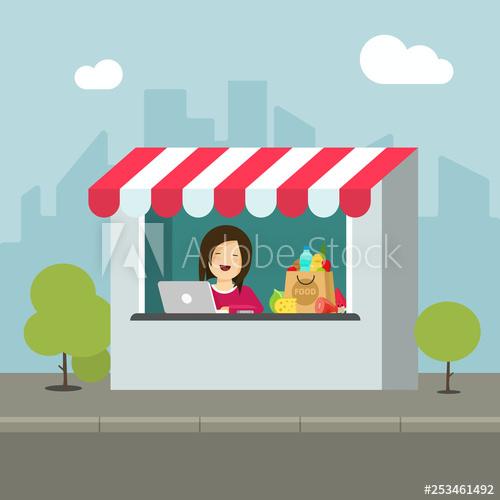 Saleswoman clipart vector stock Store retail vector illustration, flat cartoon design of ... vector stock