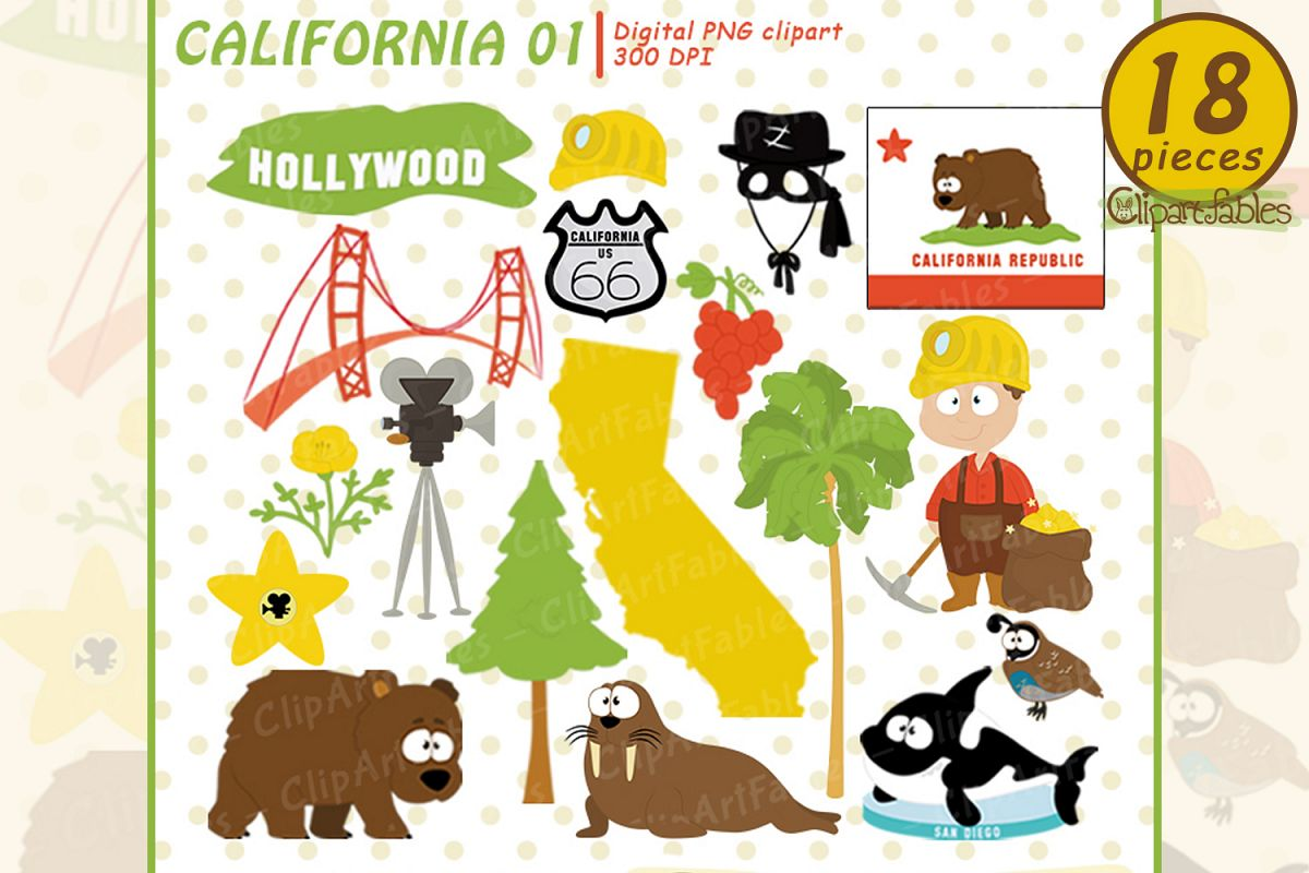 San deago adventure trip clipart jpg transparent library CALIFORNIA State clipart, Cute California bear - INSTANT art jpg transparent library