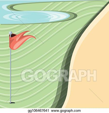 Golfer sand trap clipart black and white library EPS Illustration - Golf curse with sand trap and lake ... black and white library