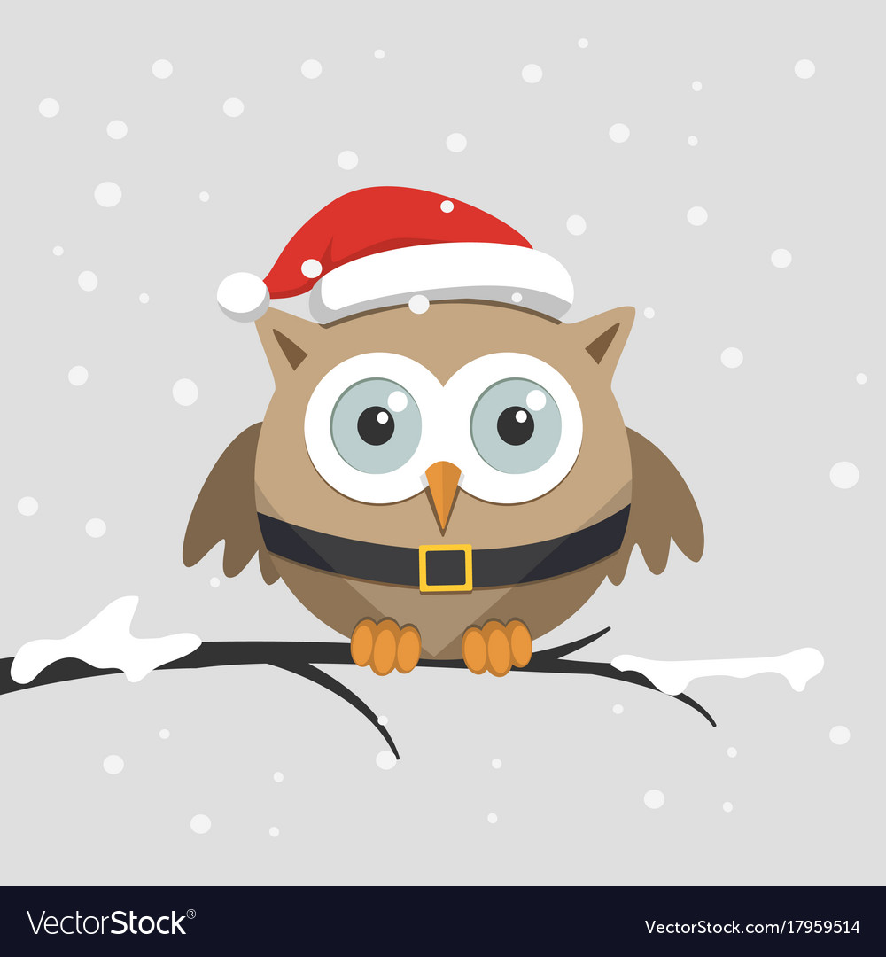 Santa and owls clipart image download Christmas male owl with santa claus hat image download