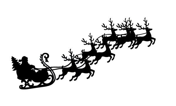Santa and reindeer clipart to overlay on moon vector library stock Santa sleigh and reindeer flying with sleigh clip art ... vector library stock