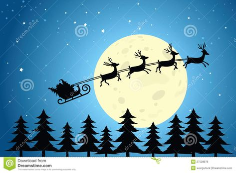 Santa and reindeer clipart to overlay on moon graphic library download Pinterest graphic library download