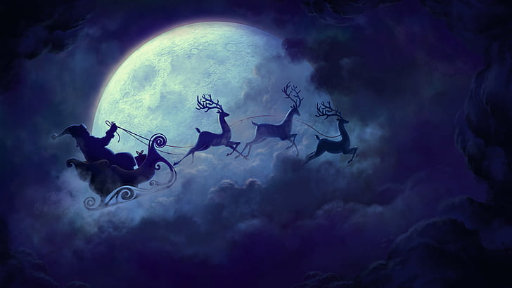 Santa and reindeer clipart to overlay on moon clip art library download HD wallpaper: Santa Claus clip art, Christmas, reindeer ... clip art library download
