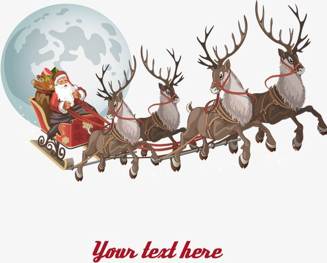 Santa and reindeer clipart to overlay on moon svg freeuse stock Transparent christmas reindeer and santa claus PNG Format ... svg freeuse stock