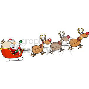 Santa in sleigh with reindeer clipart graphic freeuse library Santa in his sleigh and his reindeer clipart. Royalty-free clipart # 380551 graphic freeuse library