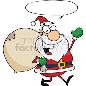 Santa chef clipart vector transparent stock Jolly-Christmas-Santa-Waving-And-Walking-With-Speech-Bubble clipart.  Royalty-free clipart # 381406 vector transparent stock