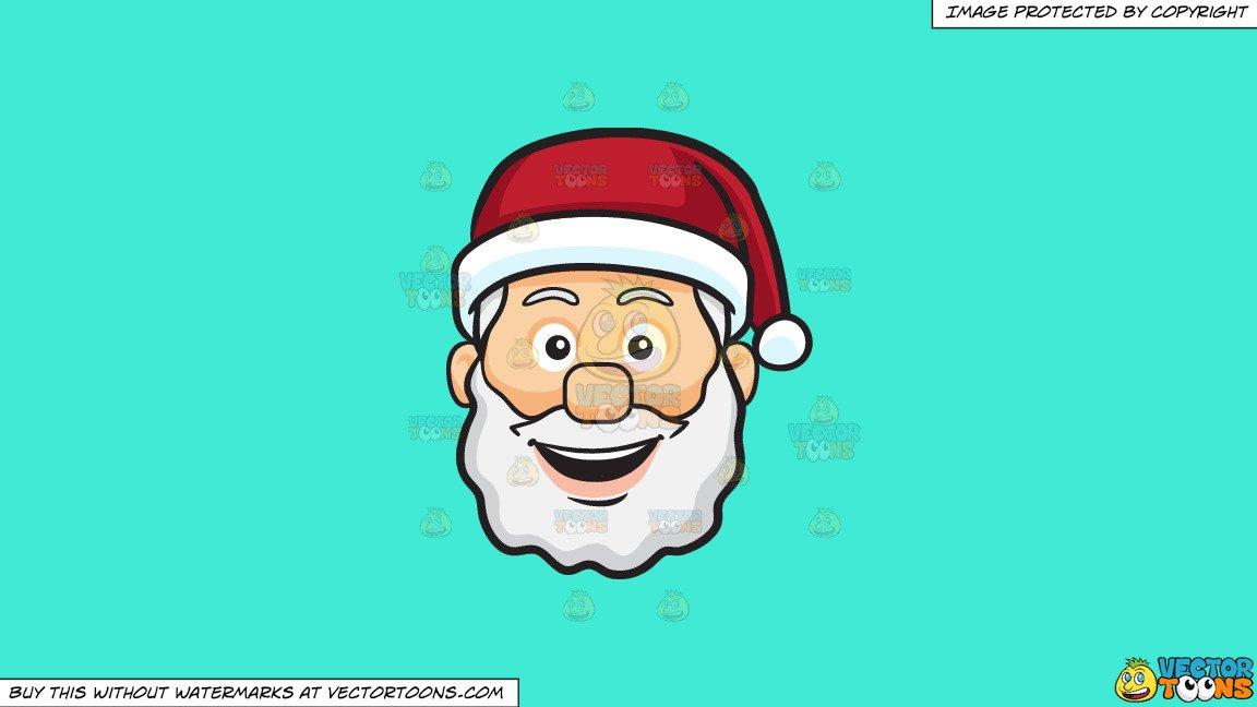 Santa chef clipart png freeuse library Clipart: A Very Happy Face Of Santa Claus on a Solid Turquiose 41Ead4  Background png freeuse library
