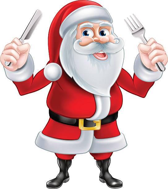Santa eating clipart clipart free download A Christmas cartoon illustration of Santa Claus holding a ... clipart free download
