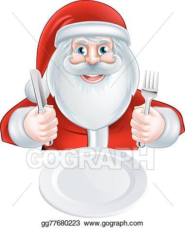 Santa claus eating clipart banner Vector Art - Santa christmas dinner concept. Clipart Drawing ... banner