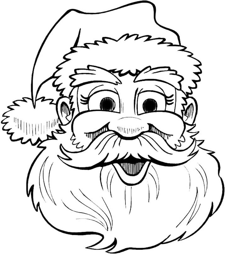 Santa claus face clipart black and white png transparent download Santa Claus Drawing Christmas Coloring Book PNG, Clipart ... png transparent download