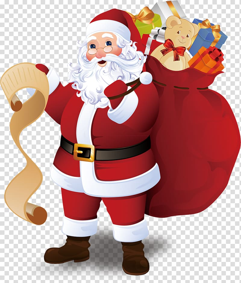 Santa claus giving gifts clipart banner black and white stock Santa Claus Christmas tree Greeting card Christmas ornament ... banner black and white stock