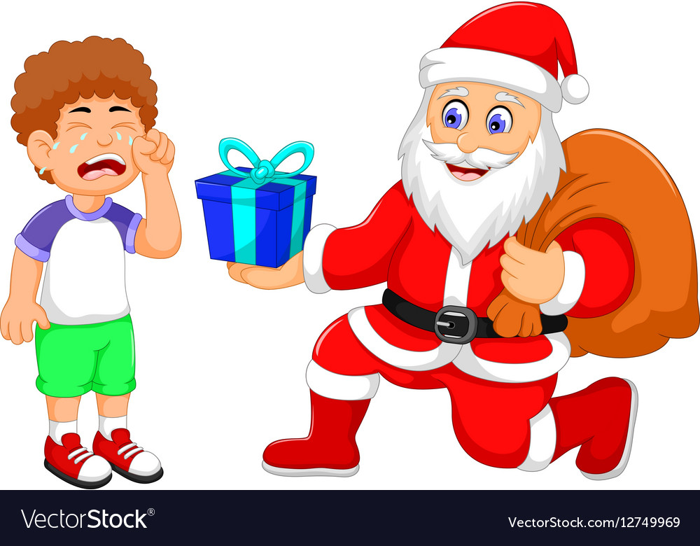 Santa claus giving gifts clipart clip art library Funny Santa Claus cartoon giving a gifts to little clip art library