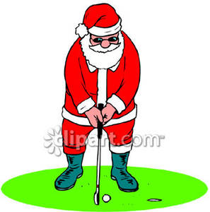 Santa claus golfing clipart graphic Santa Claus Playing Golf - Royalty Free Clipart Picture graphic