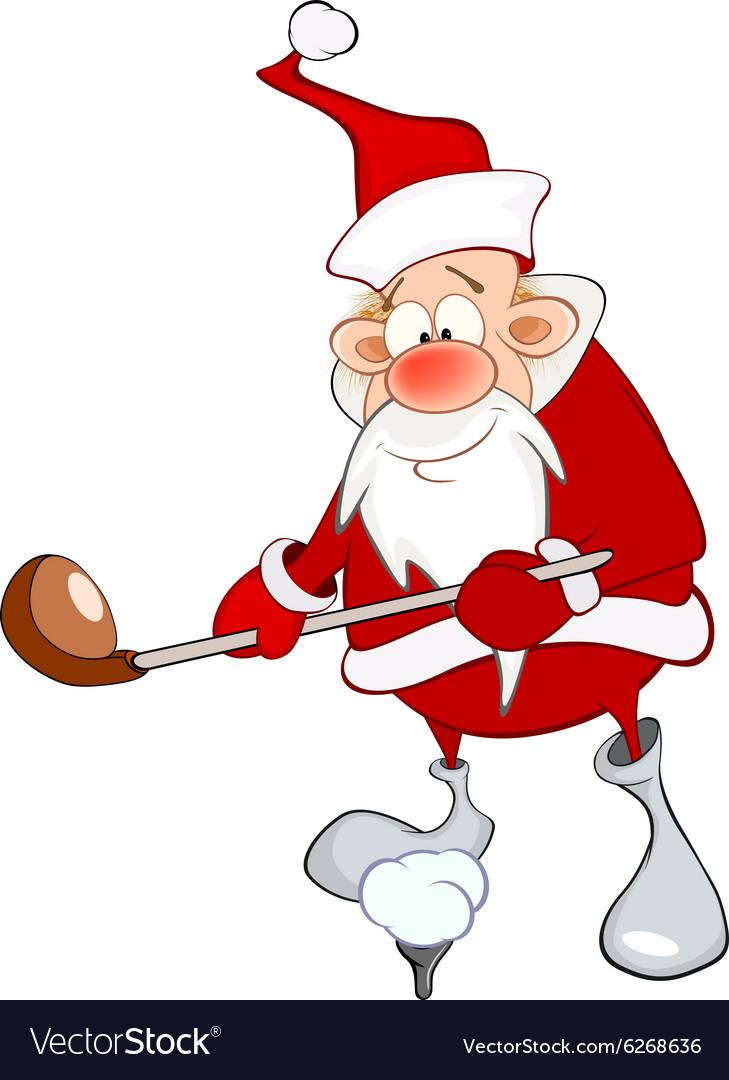Santa claus golfing clipart clip art black and white stock Cute Santa Claus Golfer Cartoon clip art black and white stock