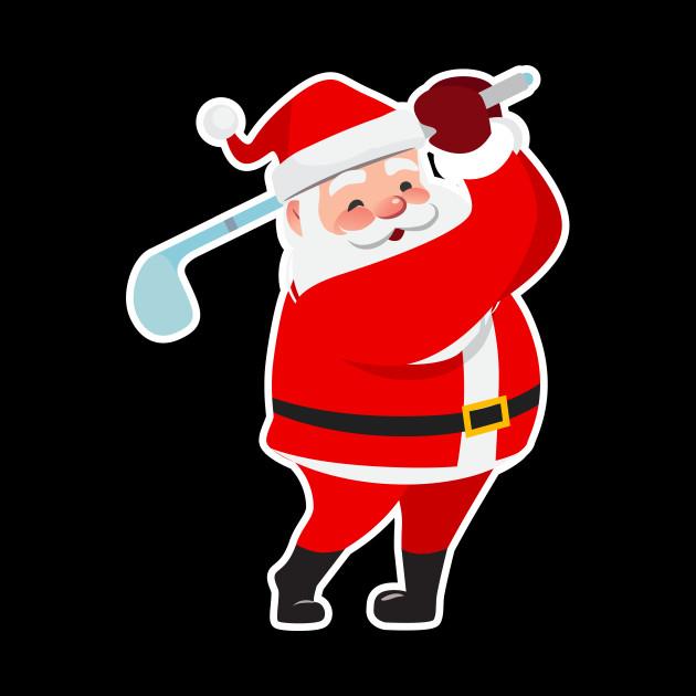 Santa claus golfing clipart image free download Christmas Santa Claus With Golf Club image free download