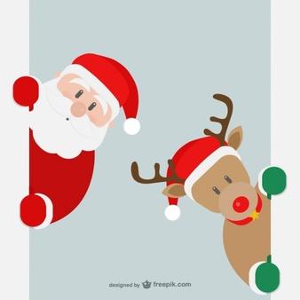 Santa peeking clipart