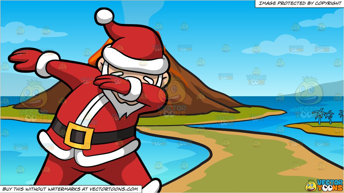 Santa claus volcano clipart graphic transparent library A Dabbing Santa Claus and A Volcano Island Background graphic transparent library