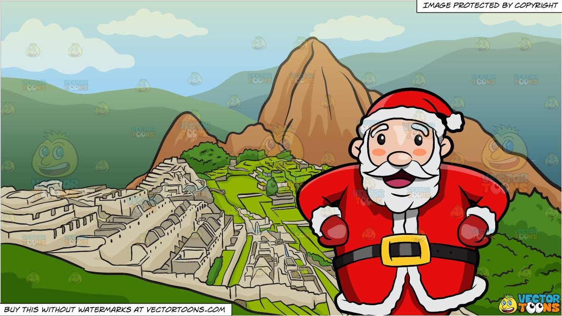 Santa claus volcano clipart jpg library library A Happy And Very Jolly Santa Claus and Machu Picchu Background jpg library library