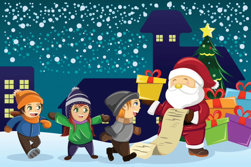 Santa claus with child on lap clipart vector transparent stock Santa Claus Carrying Present With Kids Around Him | Clipart ... vector transparent stock