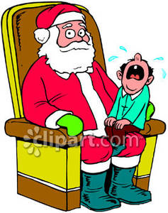 Santa claus with child on lap clipart banner stock A Child Crying, Sitting on Santa Claus\' Lap Royalty Free ... banner stock