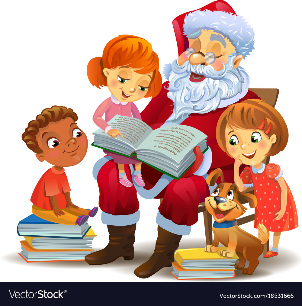 Santa claus with child on lap clipart clip art royalty free download Santa claus reading the book to children clip art royalty free download
