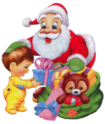 Santa claus with child on lap clipart
