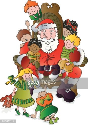 Santa claus with child on lap clipart banner royalty free stock Children Visit A Mall Santa stock vectors - Clipart.me banner royalty free stock