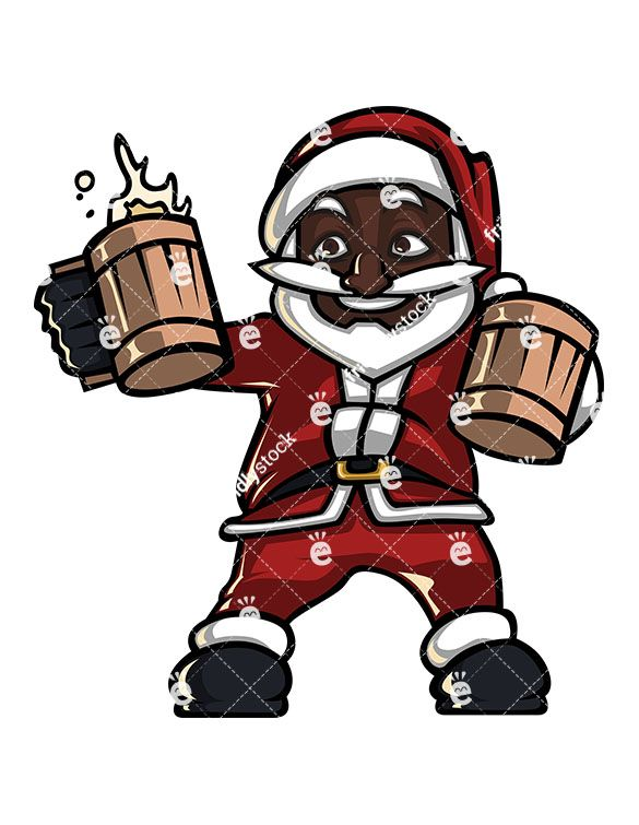Santa drinking clipart clip download A Black Santa Claus Holding Two Mugs Of Beer Getting Ready ... clip download