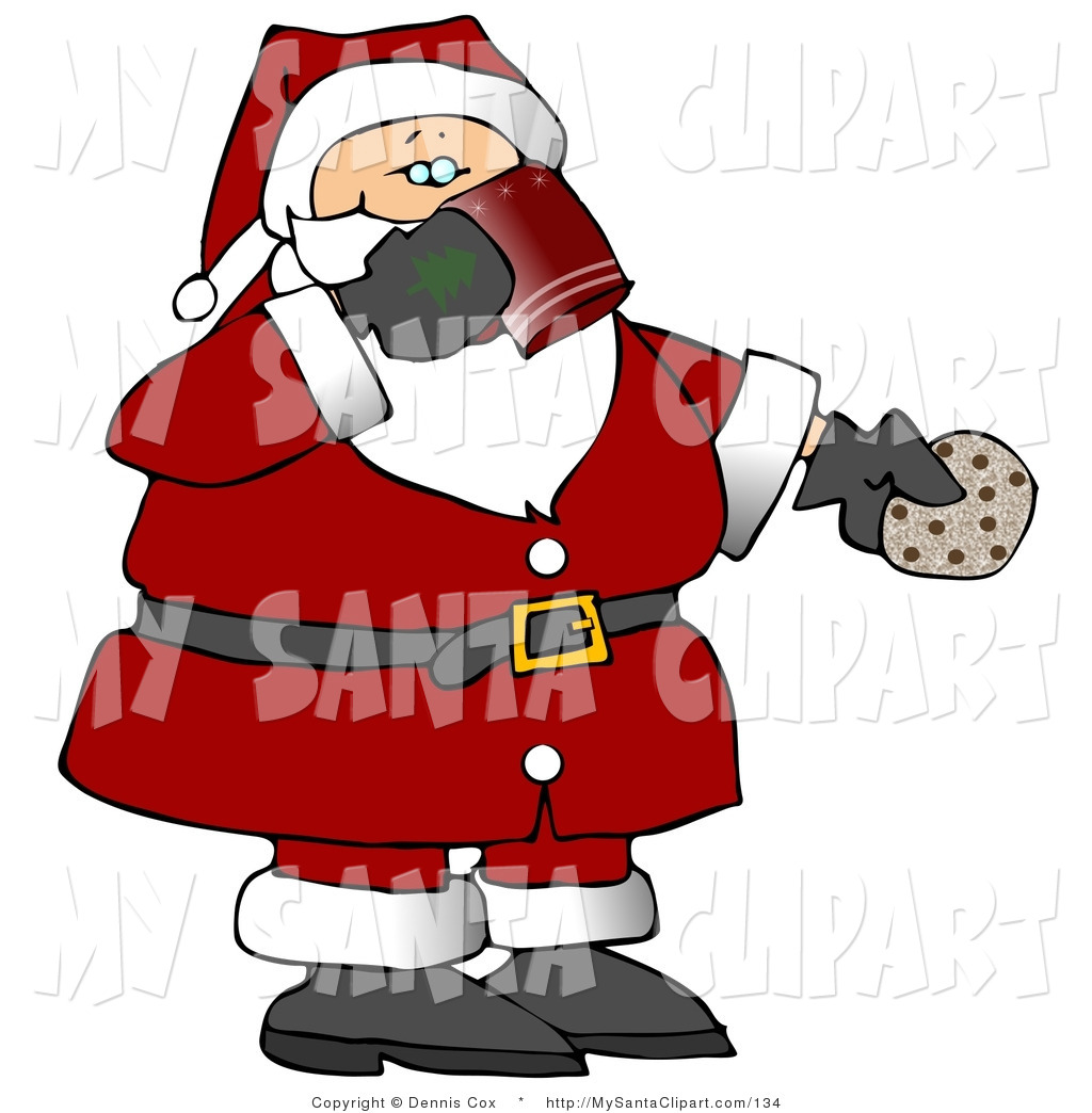 Santa eating clipart picture transparent Christmas Clip Art of a Santa Claus Drinking Milk and Eating ... picture transparent