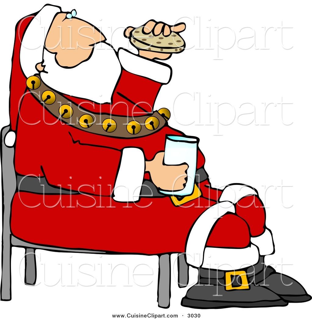 Santa eating clipart jpg freeuse download Cuisine Clipart of a Festive Santa Eating Chocolate Chip ... jpg freeuse download
