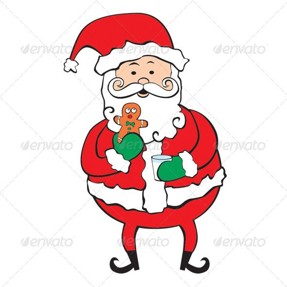 Santa eating cookies clipart clipart free Santa Eating Gingerbread man Cookie and Milk #GraphicRiver ... clipart free