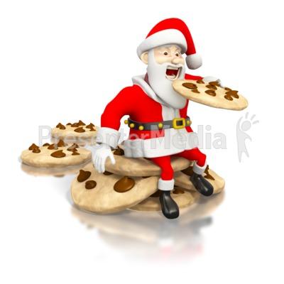 Santa eating cookies clipart clip Santa Eating Cookies - Holiday Seasonal Events - Great ... clip