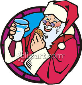 Santa eating cookies clipart graphic freeuse stock Santa Eating Christmas Cookies - Royalty Free Clipart Picture graphic freeuse stock