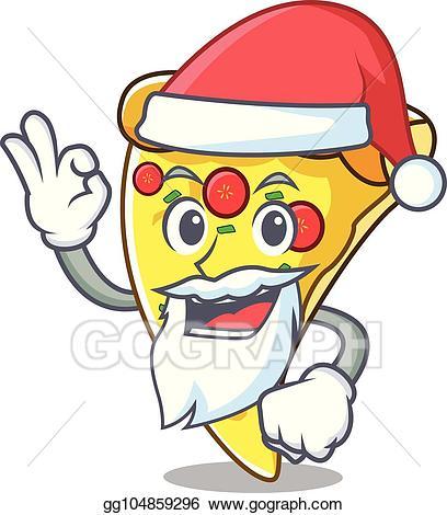 Santa eating pizza clipart png free Vector Stock - Santa pizza slice mascot cartoon. Clipart ... png free