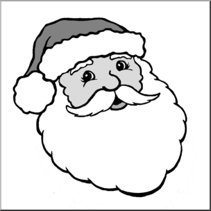 Santa face clipart black and white vector transparent library Clip Art: Santa 1 Grayscale I abcteach.com | abcteach vector transparent library