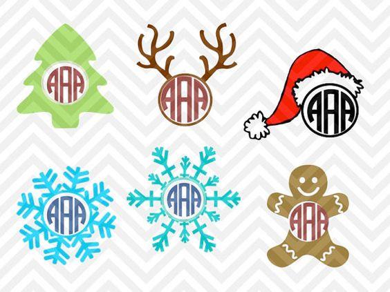 Santa hat clipart svg banner royalty free library Christmas Monogram Bundle christmas tree, reindeer, snowflake ... banner royalty free library