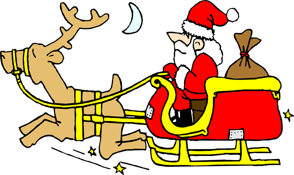Santa | Free Stock Photo | Illustration of Santa on a sled with a ... picture free stock