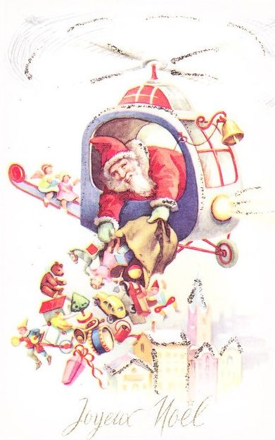 Santa in helicopter clipart