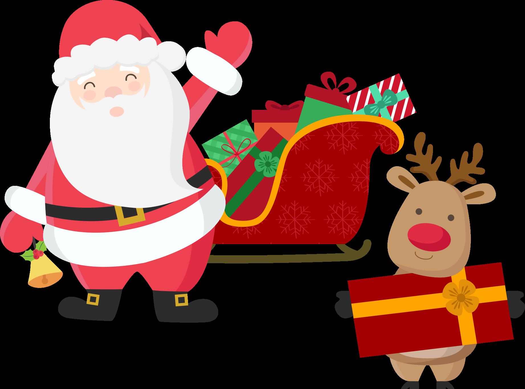 Santa in slegh mark your calander clipart jpg freeuse Download Elk Rudolph Claus Reindeer Claus\'S Santa Sleigh ... jpg freeuse