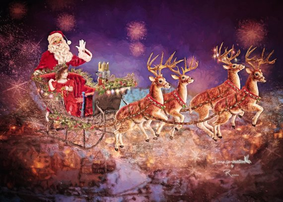 Santa in slegh mark your calander clipart jpg free Santas sleigh   ride with Santa   digital background ... jpg free