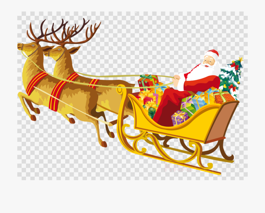 Santa in sleigh with reindeer clipart picture freeuse library Reindeer Clipart Santa - Drawing On Merry Christmas #371693 ... picture freeuse library